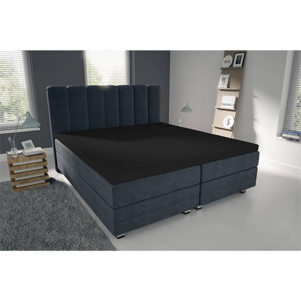 Nightlife Double Jersey Topper hoeslaken Black-90/100 x 200/220 cm
