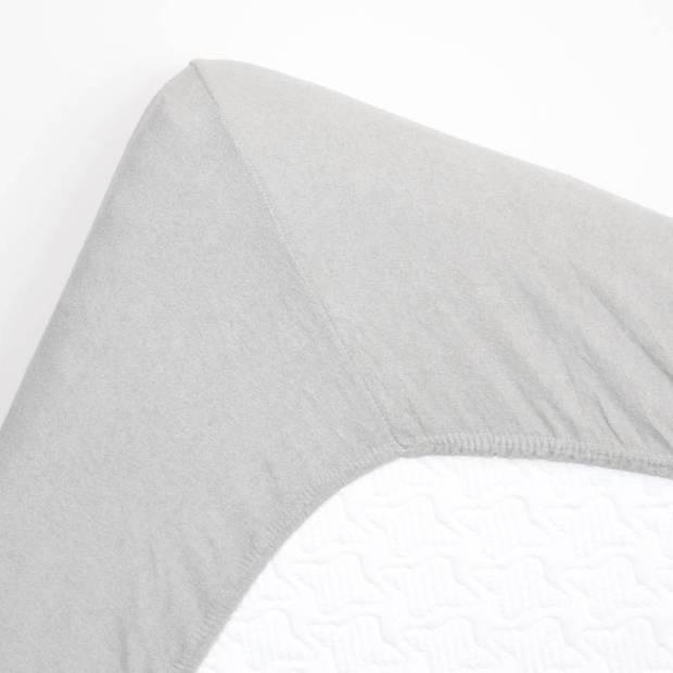 Snoozing badstof hoeslaken - 80% katoen - 20% polyester - Lits-jumeaux (160x210/220 of 180x200 cm) - Grijs