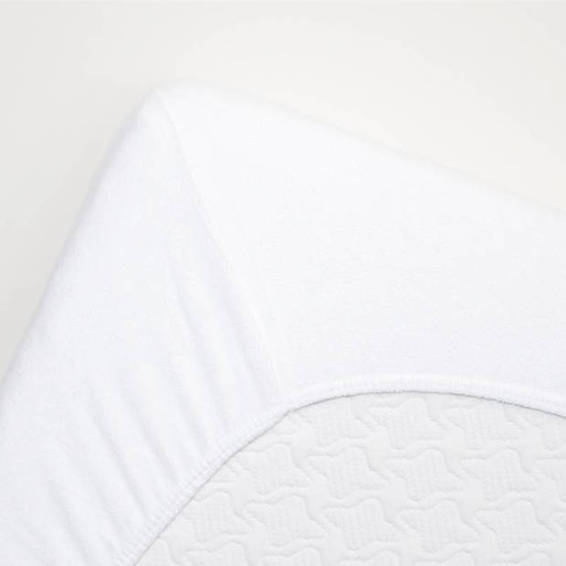 Snoozing badstof hoeslaken - 80% katoen - 20% polyester - Lits-jumeaux (160x210/220 of 180x200 cm) - Wit