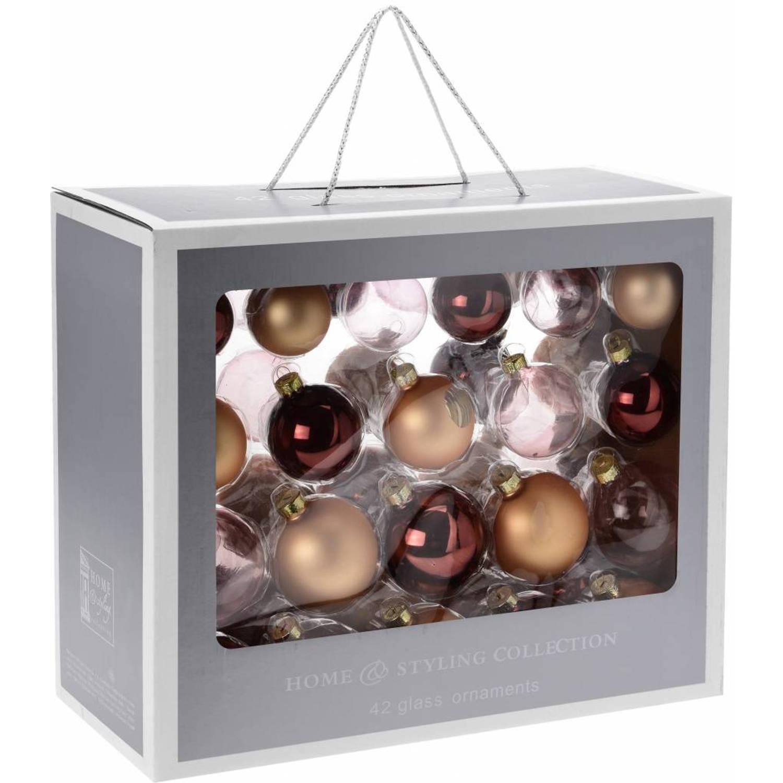 Home & Styling Collection 42-Delige glazen kerstballen set Goud, Roze en Bruin