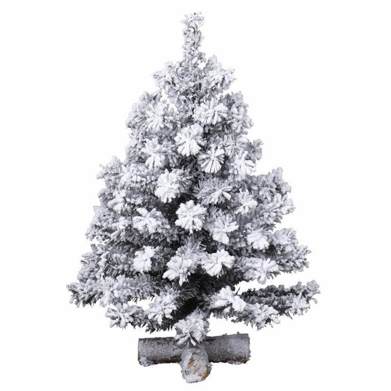 Besneeuwde kunst kerstboom op kruispoot 60 cm