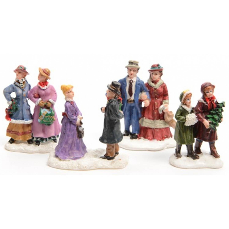 Kerstdorp figuurtjes mensen 4 stuks