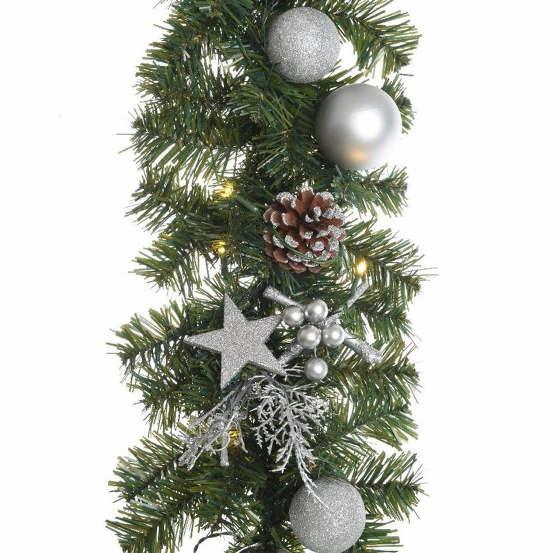 groenezilver kerst dennen slinger met verlichting 180 cm