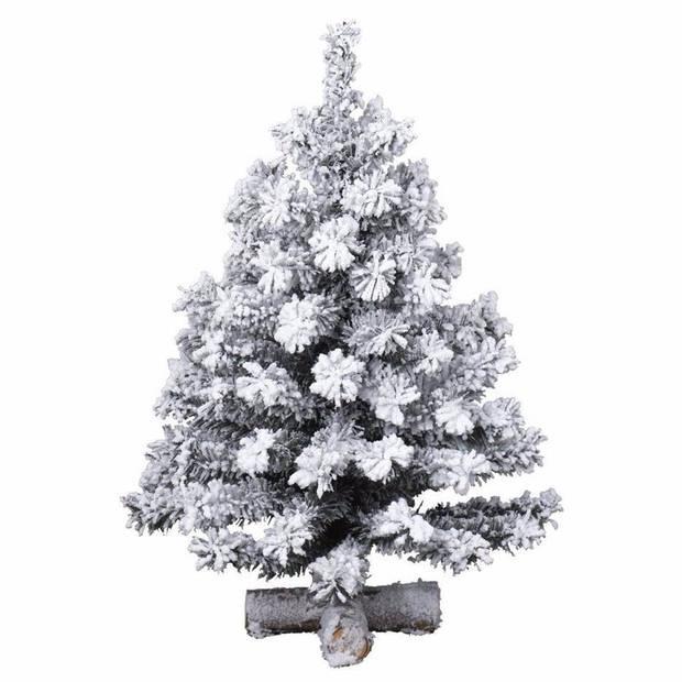 Kunst kerstboompje groen/sneeuw 90 cm op kruis