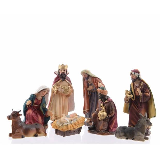 8 kerststal figuurtjes van polyestone 12 cm - kerststalletje fiiguren