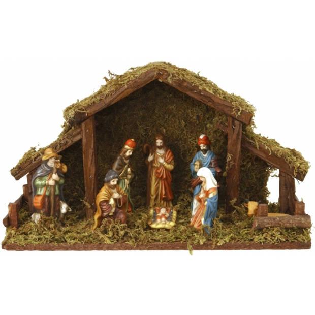 Kerststal met verlichting en 8 figuren 40cm