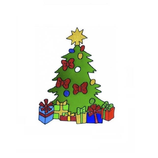 Kerst raamstickers kerstboom plaatjes 30 cm - Raamdecoratie kerst - Kinder kerststickers