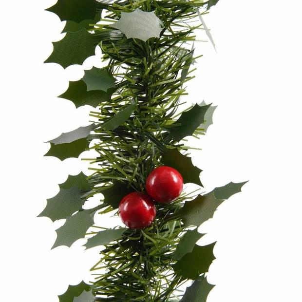 1x Kerstslinger guirlandes groen hulst 270 cm - Kerstversiering en decoraties - Dennenslingers