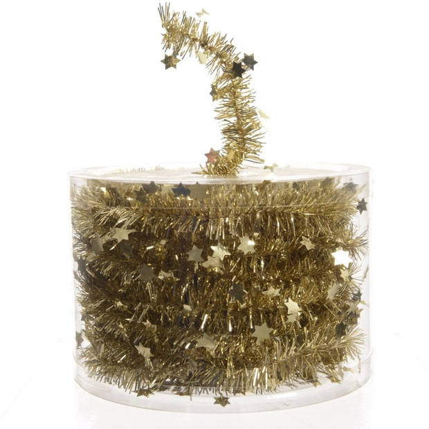 1x Kerstboom sterren folie slingers goud 700 cm - Lametta guirlande folieslingers goud - Kerstversiering en decoratie