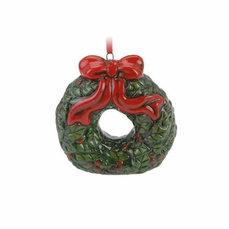 Kerstversiering kersthanger kerstkrans vorm keramiek 8 cm