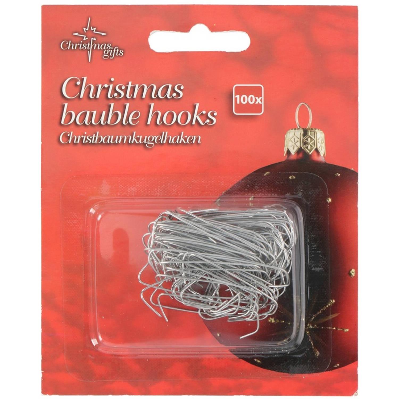 Korting 100x Zilveren Kerstbalhaakjes kerstboomhaakjes Zilveren Haakjes Voor Kerstballen 100 Stuks