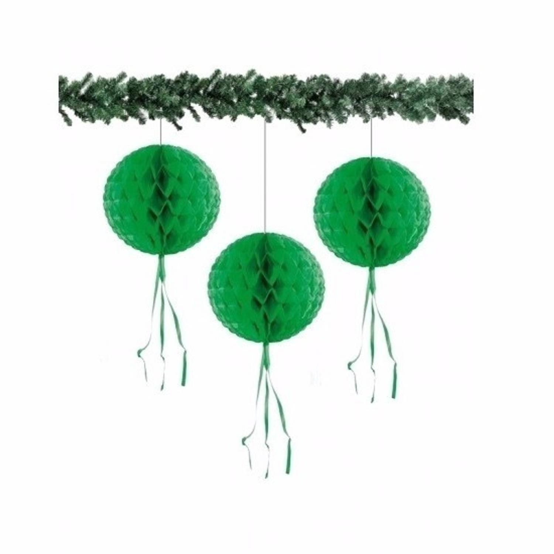 3 papieren Kerst decoratie ballen groen 30 cm