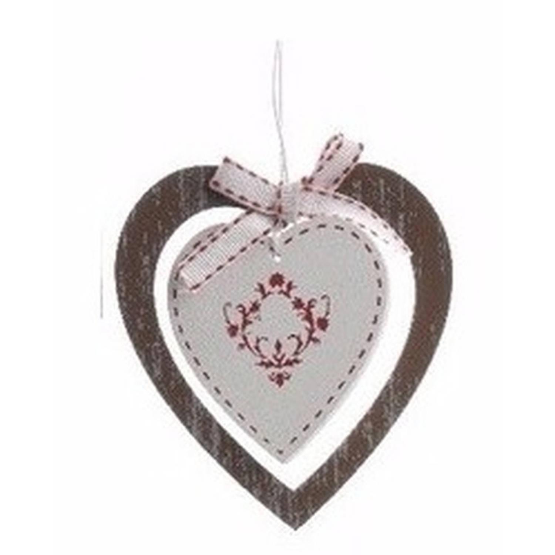 Kerstversiering houten hartje hanger bruin 10 cm kersthanger