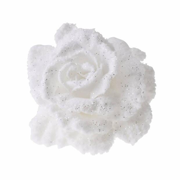1x Kerstboomversiering bloem op clip wit en besneeuwd 10 cm - kerstfiguren - witte kerstversieringen
