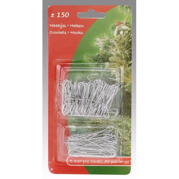 Kerstbalhaakjes - 150 stuks - Zilver - Kerstboom decoratie - Kerst versiering materiaal
