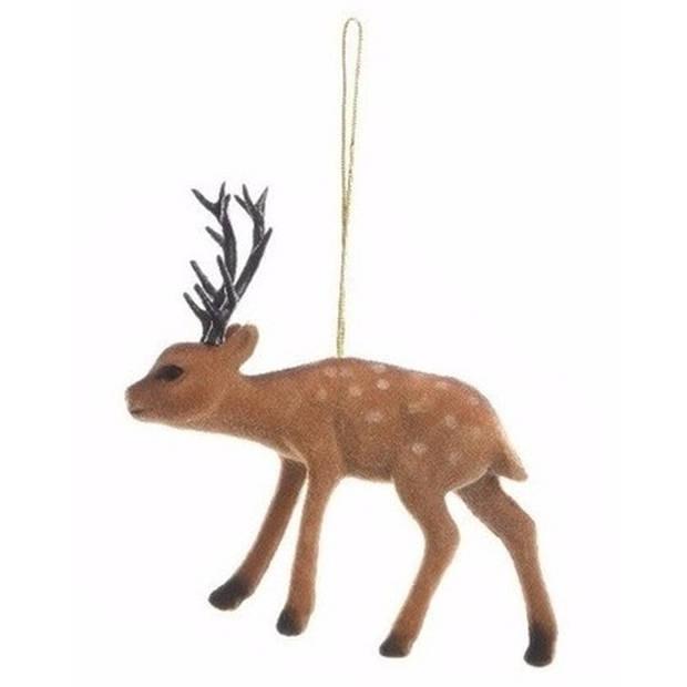 Kersthanger bruine rendier 13 cm - type 2 - kerstboomhanger