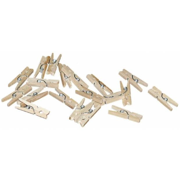 20x mini knijpertjes naturel - 2 cm - kleine/ mini knijpers
