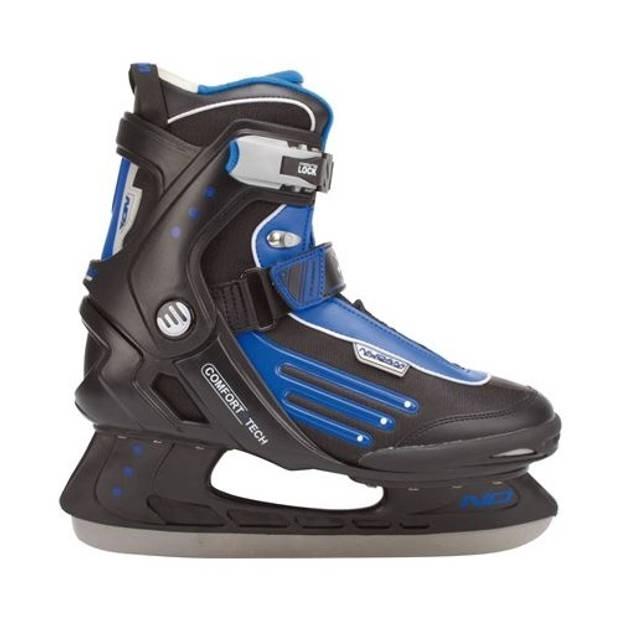 Nijdam ijshockeyschaatsen semi softboot zwart/blauw maat 41