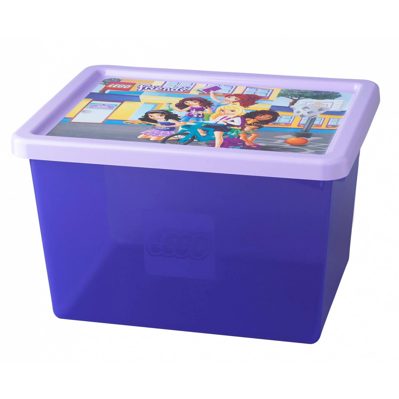 Lego opbergbox met deksel lego friends paars 20 liter
