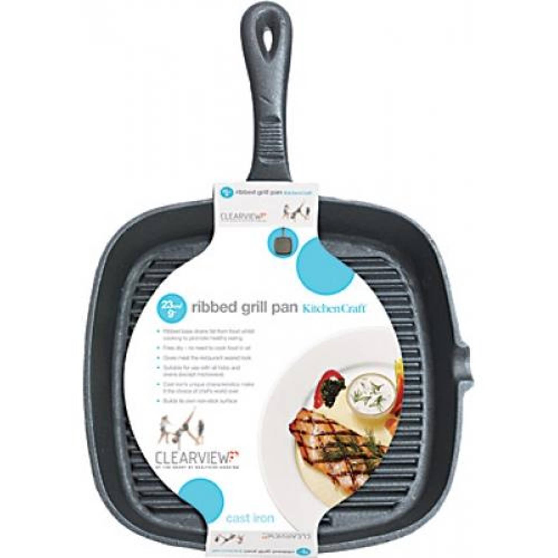 KitchenCraft Gietijzeren grillpan - 23cm - Kitchen Craft