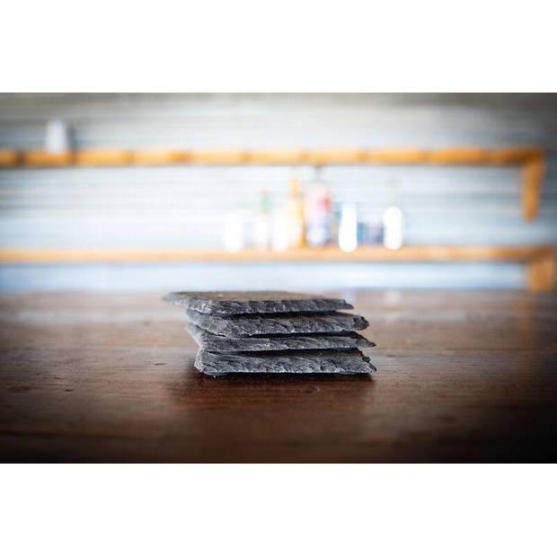Boska Onderzetters Leisteen - Set van 4 Bordjes - Zwart - 10x10 cm