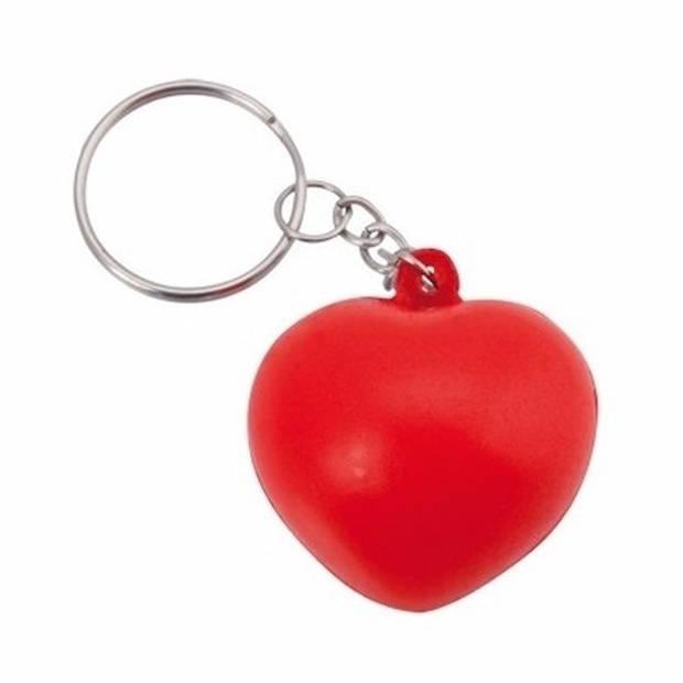 Stressbal sleutelhanger hartje 3,6 cm - Anti-stress - Stressballen - Squishy - Sleutelhangers