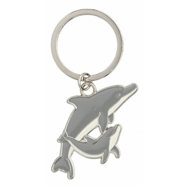 Metalen dolfijnen sleutelhangers van 5 cm - Dieren cadeau artikelen