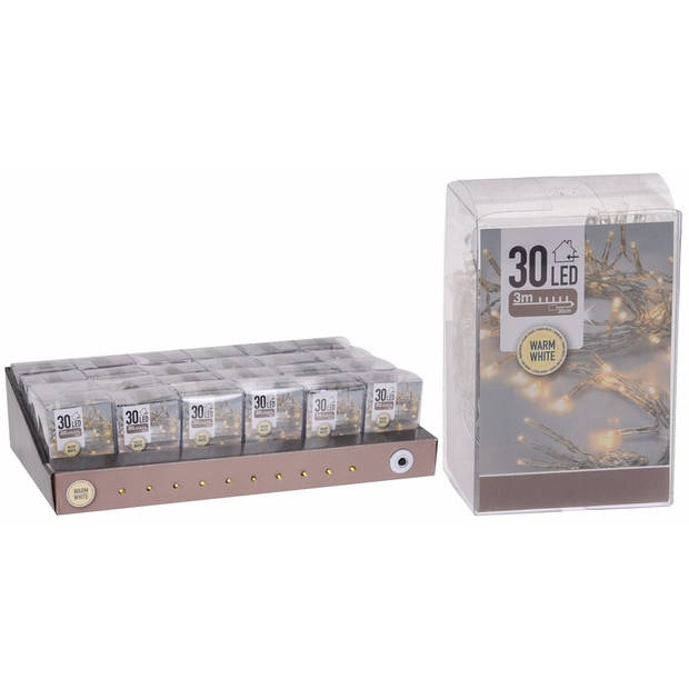 Kerstverlichting op batterij warm wit 30 lampjes