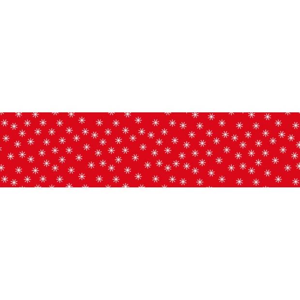 Damast papier Ster rood 1.18x10mtr. Kerstartikelen