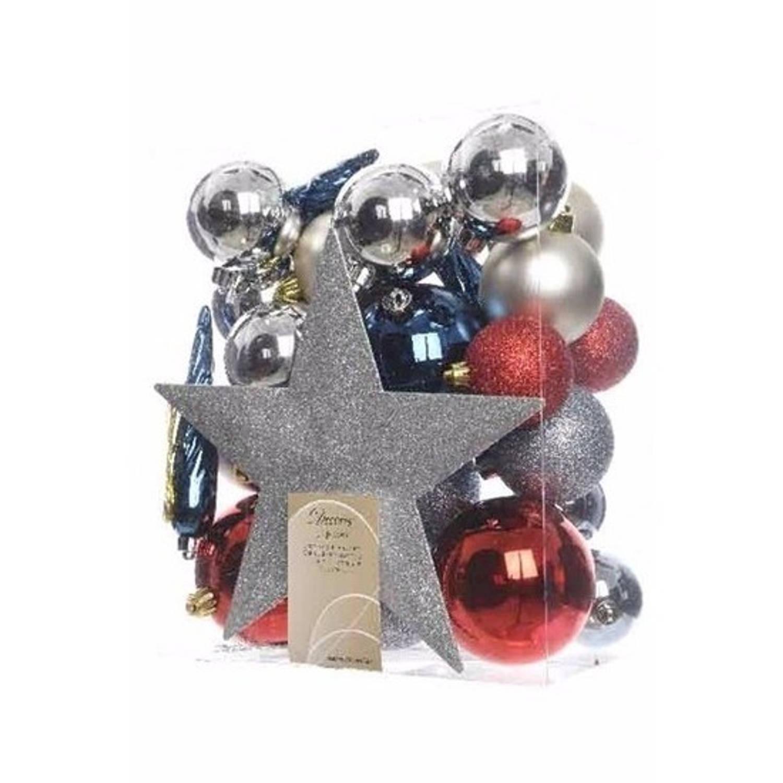 Kerstboom decoratie kerstballen set zilver/rood/blauw 33 stuks