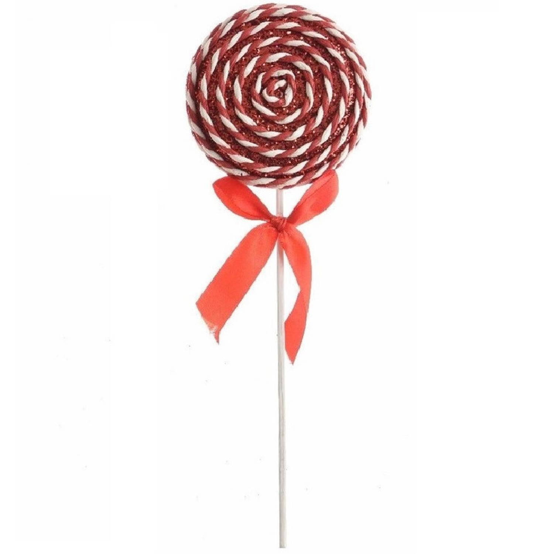 Hang kerstdecoratie foam lolly glitter rood-wit 14,5 cm type 2