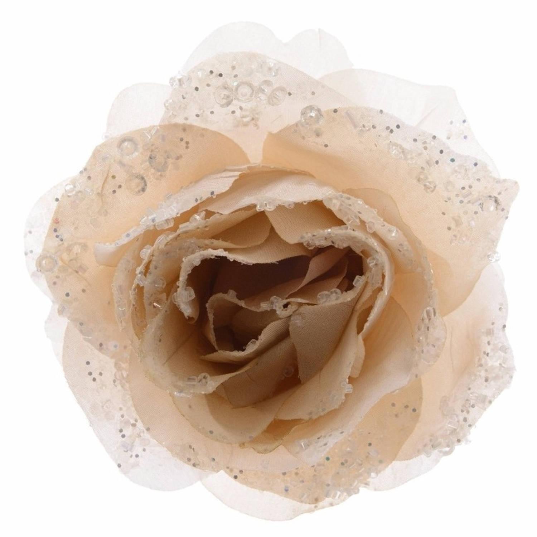 Korting Kerstboom Decoratie Bloemen Roos Creme 14 Cm
