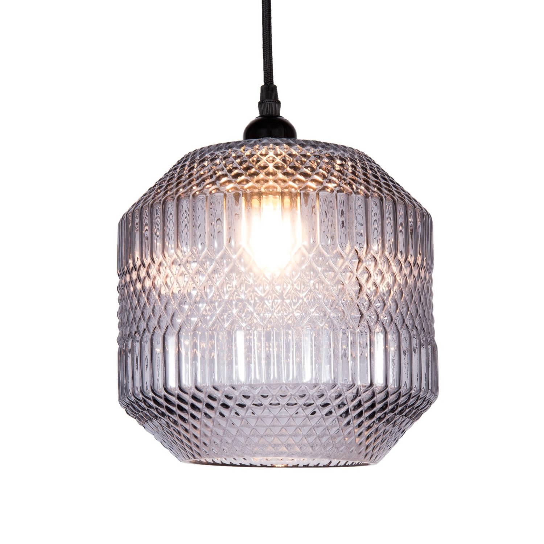 Clayre & eef hanglamp ø 20x25 cm / e27 / max. 1x 40 watt - grijs, transparant - glas