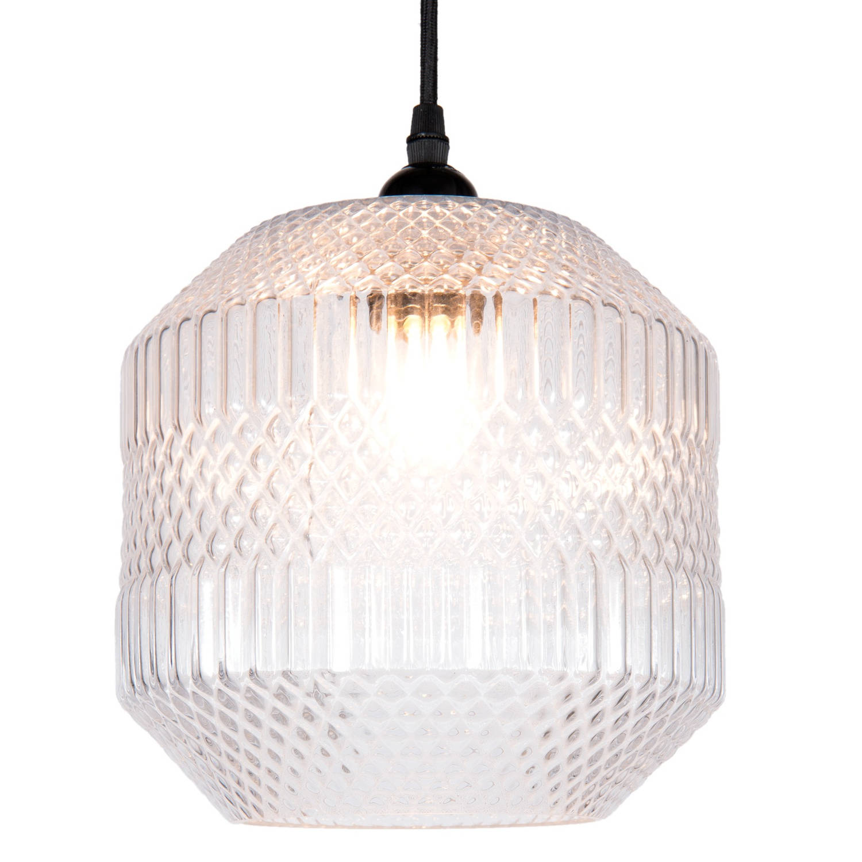 Clayre & eef hanglamp ø 20x25 cm / e27 / max. 1x 40 watt - transparant - glas