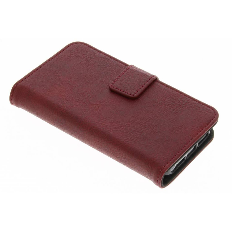 Rode luxe leder booktype hoes voor de iPhone 5 / 5s / SE