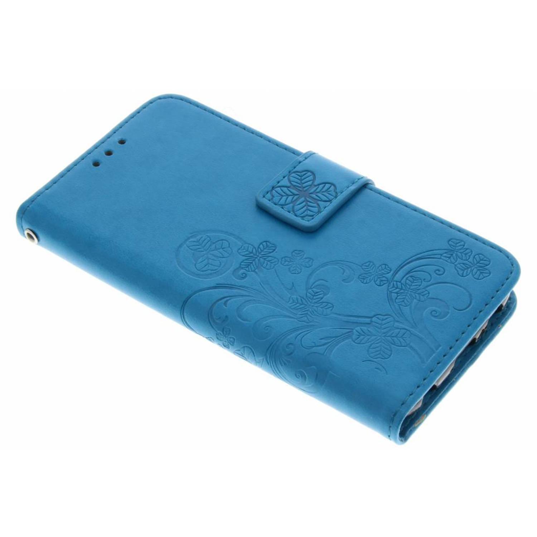 Turquoise klavertjes bloemen booktype hoes voor de Samsung Galaxy S6