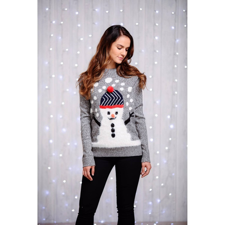 Grijze dames kersttrui met sneeuwman XL (42)