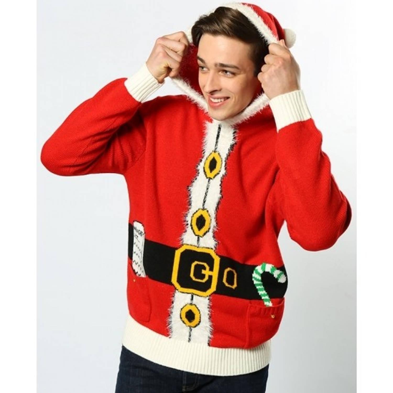 Rode hooded kersttrui S