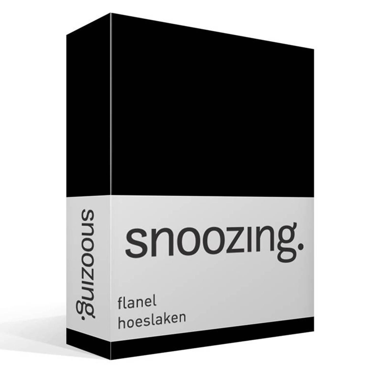 Snoozing - Flanel - Hoeslaken - 200x210/220 Cm - Zwart