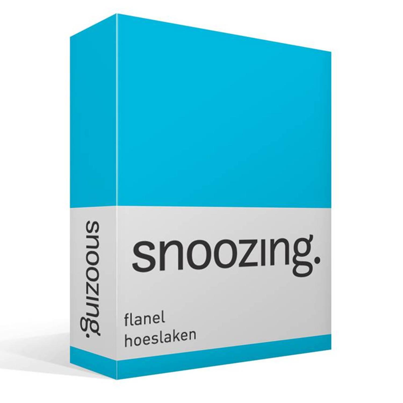Snoozing flanel hoeslaken 100 geruwde flanel katoen 2 persoons (140x200 cm) Blauw