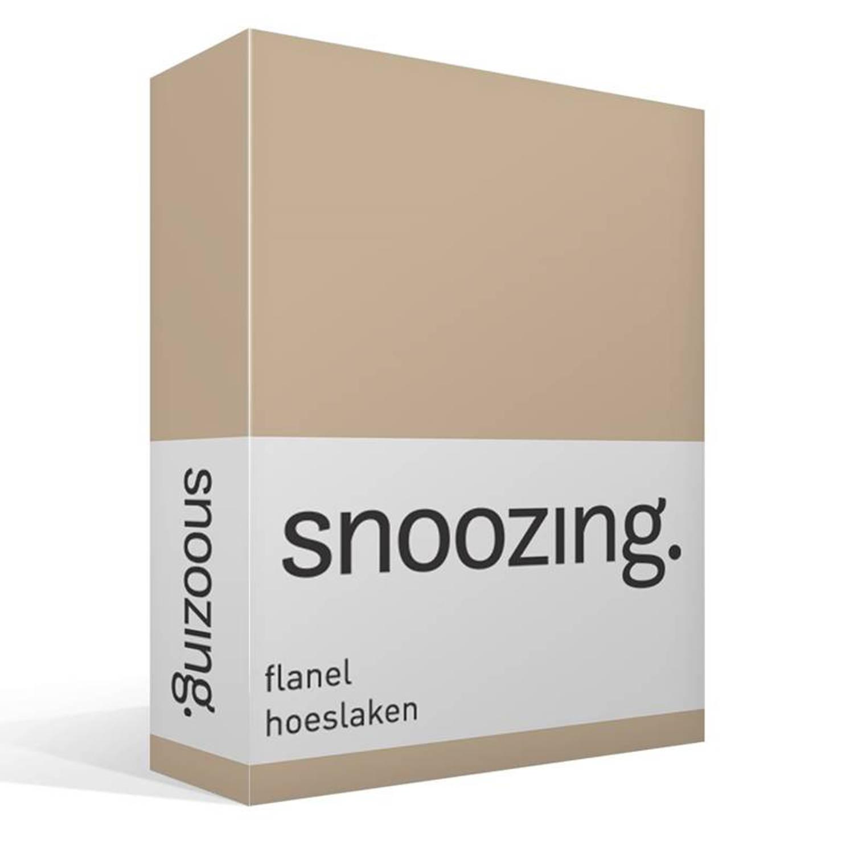 Snoozing flanel hoeslaken - 100% geruwde flanel-katoen - 1-persoons (90/100x220 cm) - Zand