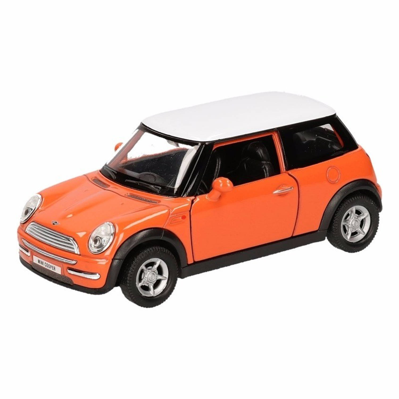 Speelgoed oranje mini cooper auto 12 cm