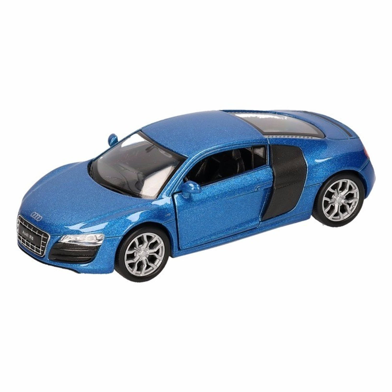Afbeelding van Speelgoed blauwe Audi R8 auto 1:36