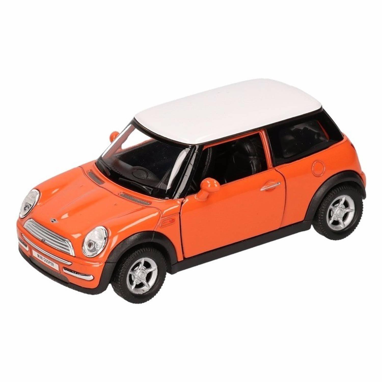 Speelgoed oranje mini cooper auto 11 cm