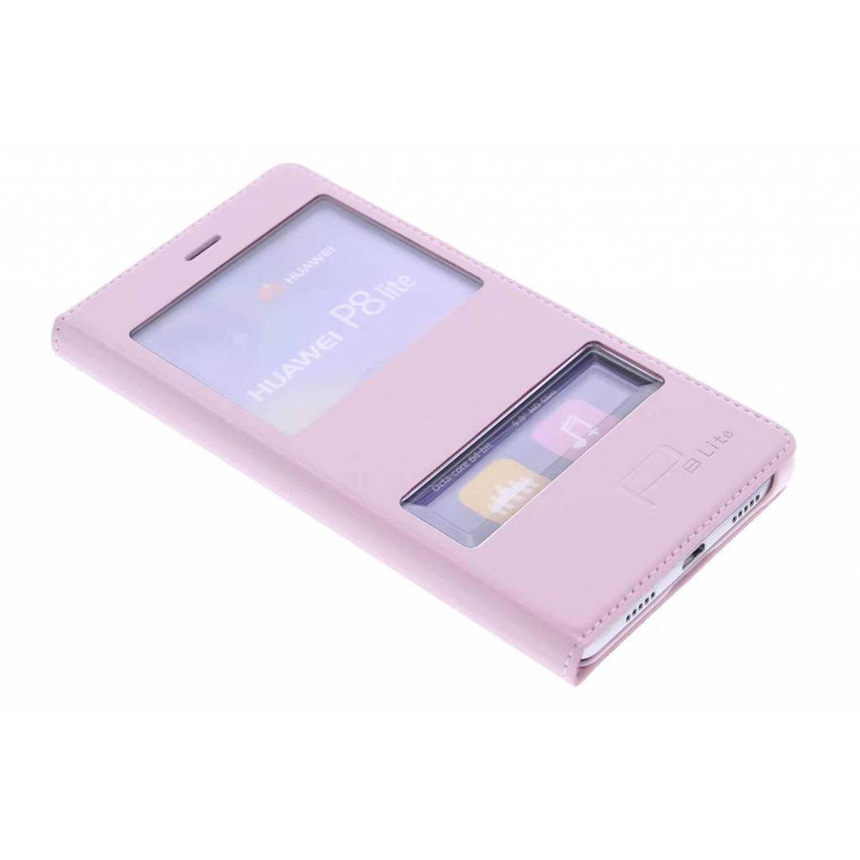 Roze slim booktype hoes met venster voor de huawei p8 lite