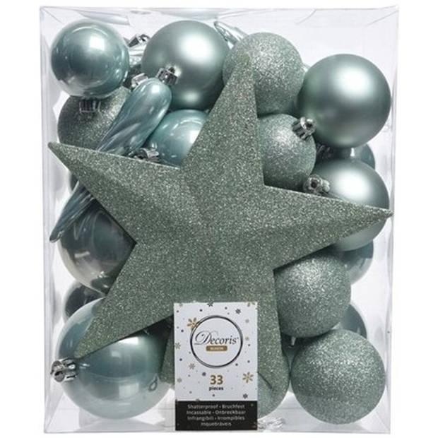 33x Mintgroene kunststof kerstballen 5-6-8 cm - Mix - Onbreekbare plastic kerstballen - Kerstboomversiering mintgroen