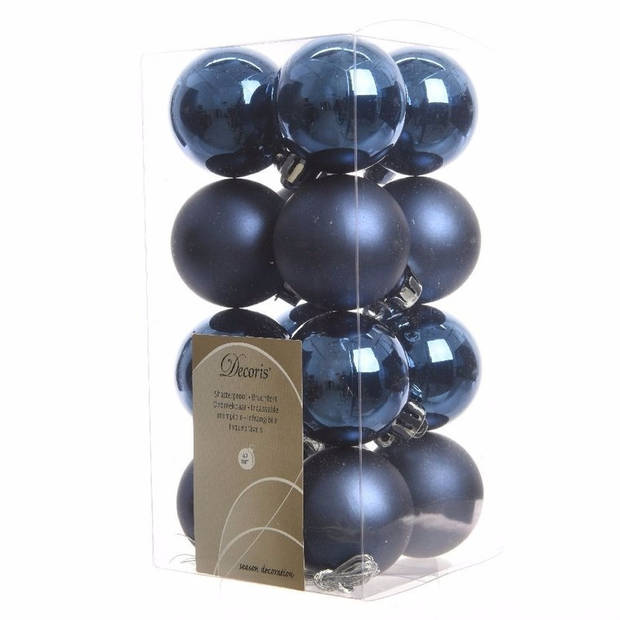 Kerstboom decoratie ballen blauw 16 delig