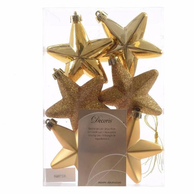 6x Gouden sterren kerstballen 7 cm - Glans/mat/glitter - Onbreekbare plastic kerstballen - Kerstboomversiering goud
