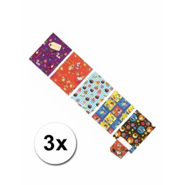 3x Sinterklaas inpakpapier/kadopapier 250 x 46 cm - cadeaupapier / kadopapier