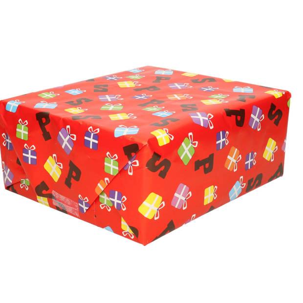 7x Sinterklaas inpakpapier/kadopapier 250 x 46 cm - cadeaupapier / kadopapier